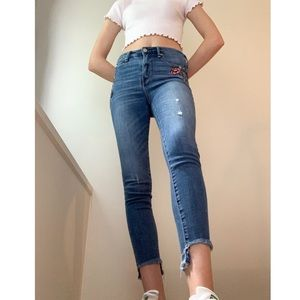 Embroidered Denim Skinny Jeans